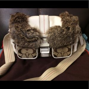 Coach ski purse with rabbit fur trim Limited ed.